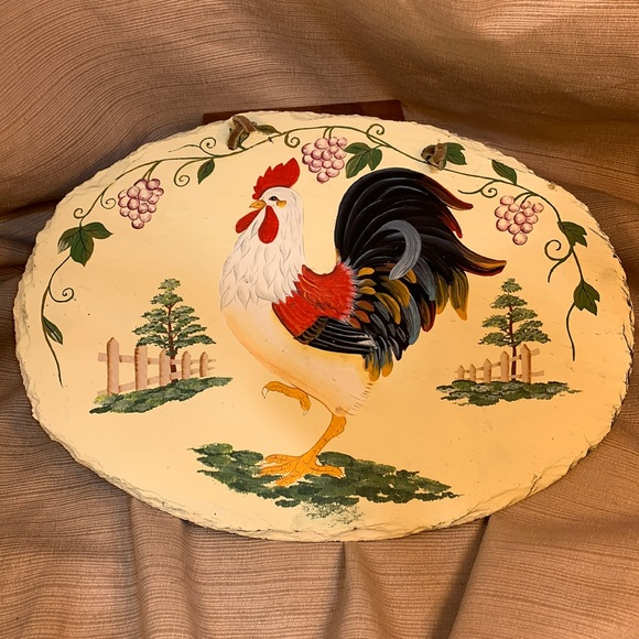 Hand painted Rooster on stone w/leather loop